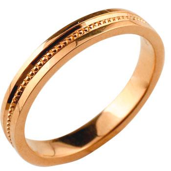 シンプル ピンクゴールドk18 リング 指輪 ピンキーリング ミル打ち 地金リング 宝石なし レディース メンズ18k 18金【コンビニ受取対応商品】 大きいサイズ対応 送料無料