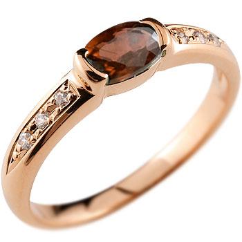 指輪 ピンクゴールドk18 リング ガーネットリングダイヤモンド k18 ピンキーリング ダイヤ 18金 1月誕生石 レディース【コンビニ受取対応商品】 大きいサイズ対応 送料無料