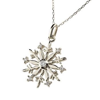 [送料無料]雪の結晶 ネックレス ダイヤモンド ペンダント ホワイトゴールドk18 ダイヤ スノーモチーフ k18 レディース チェーン【コンビニ受取対応商品】