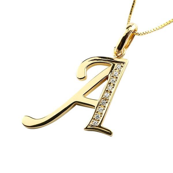 [送料無料]18金 イニシャル ネックレス イエローゴールドk18 ペンダント ネーム アルファベット A ダイヤモンド 大きめサイズ 大きいサイズ メンズ レディース【コンビニ受取対応商品】