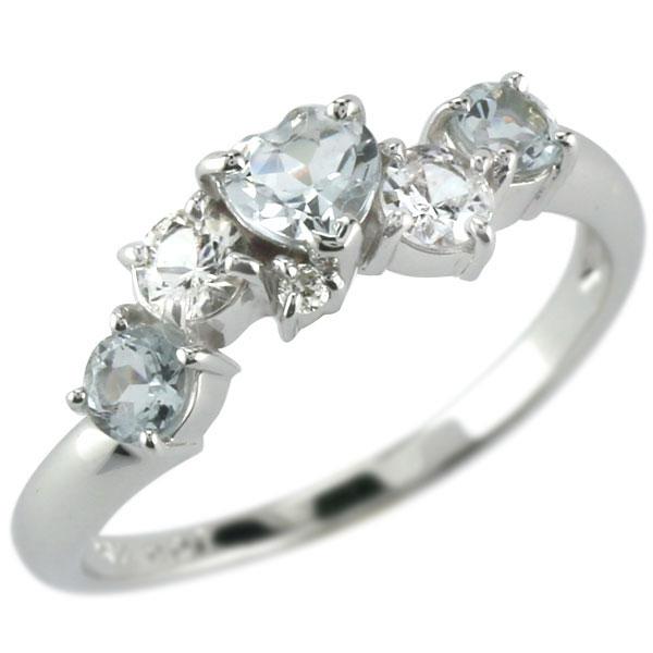 指輪 アクアマリンリングハートリング ホワイトサファイア ダイヤモンド ホワイトゴールドk18 ピンキーリング ダイヤ 3月誕生石18k 18金【コンビニ受取対応商品】 大きいサイズ対応 送料無料