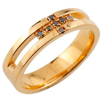 クロス リング ダイヤモンド ブラックダイヤ 幅広 指輪 ピンキーリング ピンクゴールドk18 K18 リング ダイヤモンドリング メンズ レディース18k 18金【コンビニ受取対応商品】 大きいサイズ対応 送料無料