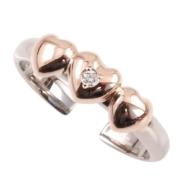 トゥリング 足の指輪 ハートプラチナ ピンクゴールドk18 ダイヤモンド k18PG 4月の誕生石ダイヤモンド 足指リング トウリング フリーサイズリング ピンキーとしてもOK 18k 18金【コンビニ受取対応商品】 大きいサイズ対応 送料無料