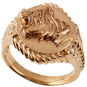 虎 タイガー リング ピンクゴールドk18 指輪 メンズ レディース18k 18金【コンビニ受取対応商品】 大きいサイズ対応 送料無料