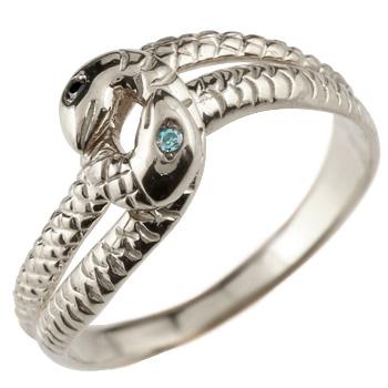 蛇 リング ホワイトゴールドk18 ブルーダイヤモンド ブラックダイヤモンド スネーク 指輪 レディース メンズ18k 18金【コンビニ受取対応商品】 大きいサイズ対応 送料無料