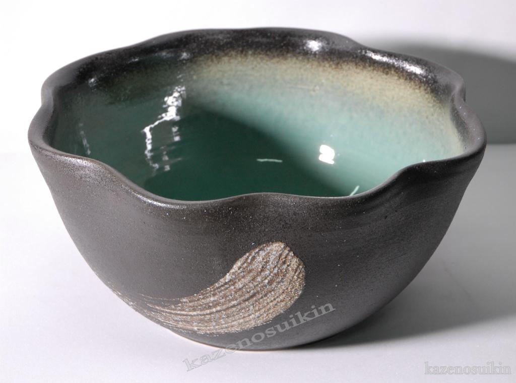 緑釉刷毛目水鉢(12号)【睡蓮(スイレン)鉢】【信楽焼き】(金魚鉢・メダカ鉢・陶器・水鉢)