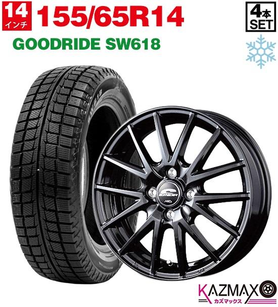 155/65R14 (155/65r14 MID 冬タイヤ (メタリックブラック) SCHNEDER ホイールセット 4本セット スタッドレスタイヤ 【取付対象】GOODRIDE SQ27 2018年製 155-65-14) SW618