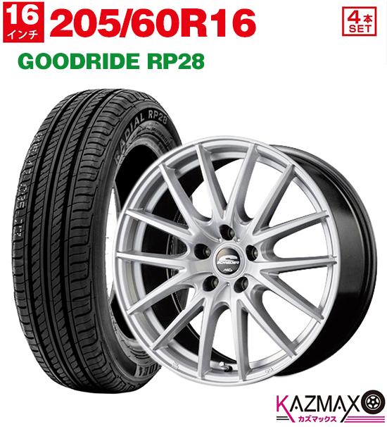 GOODRIDE 16×6.5 +53 サマータイヤ (メタリックシルバー) 夏タイヤ 5H114.3 205-60-16) セット RP28 ホイール (205/60r16 4本セット 【取付対象】205/60R16