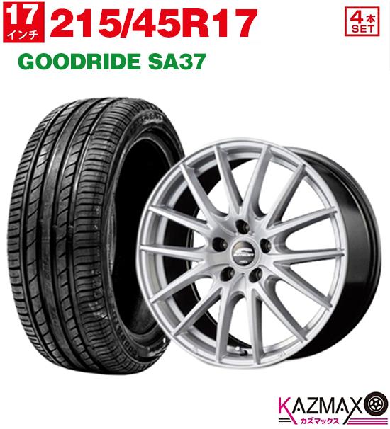 ホイールセット SA37 GOODRIDE (メタリックシルバー) 5H114.3 夏タイヤ +38 17×7.0 215-45-17) 【取付対象】215/45R17 (215/45r17 サマータイヤ 4本セット