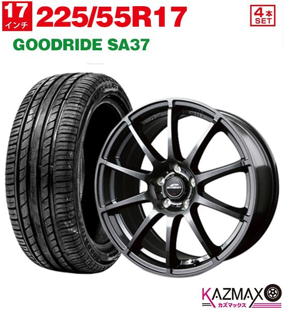 +38 ホイールセット サマータイヤ SA37 17×7.0 GOODRIDE 4本セット 【取付対象】225/55R17 (ストロングガンメタ) (225/55r17 225-55-17) 夏タイヤ 5H114.3