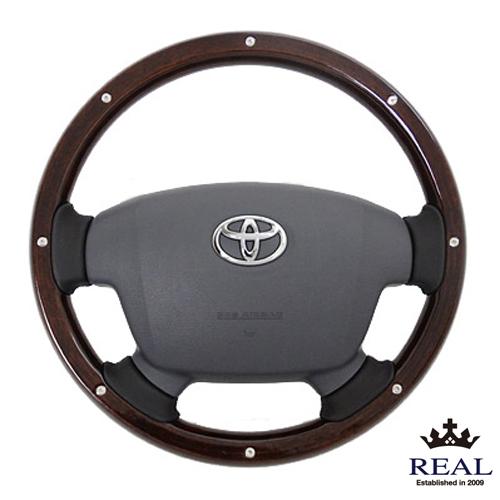 【 ハイエース, レジアスエース ( 200系 4・5型 )用 】 レアル ステアリング オリジナルシリーズ (ダークブラウンウッド/スタッド) 品番: J200-BRWM-BK (REAL Steering 純正交換タイプ)