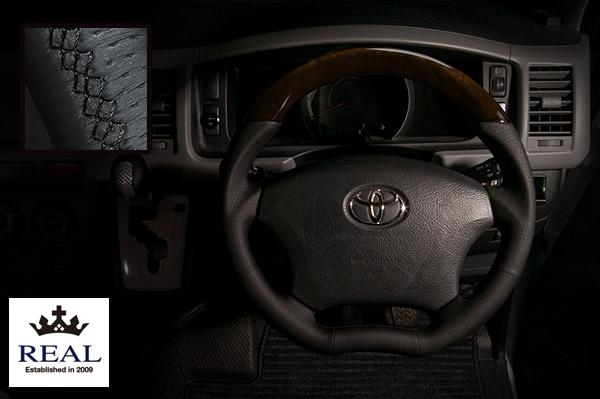 【 アルファード ANH10W, MNH10W, ANH15W, MNH15W 用 】 レアル ステアリング オリジナルシリーズ (ブラックウッド) 品番: H200-C-BKW (REAL Steering 純正交換タイプ)