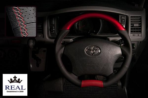 【 ハイラックスサーフ 210系 用 】 レアル ステアリング オリジナルシリーズ (パールレッド) 品番: H200-C-RDW (REAL Steering 純正交換タイプ)