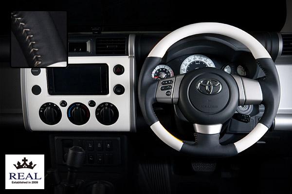 【 FJクルーザー GSJ15W (北米&国内仕様装着可)用 】 レアル ステアリング オリジナルシリーズ (ホワイト / シルバーステッチ) 品番: FJ-WHW-SL (REAL Steering 純正交換タイプ)