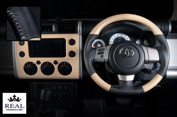【 FJクルーザー GSJ15W (北米&国内仕様装着可)用 】 レアル ステアリング オリジナルシリーズ (ベージュ / シルバーステッチ) 品番: FJ-BGW-SL (REAL Steering 純正交換タイプ)