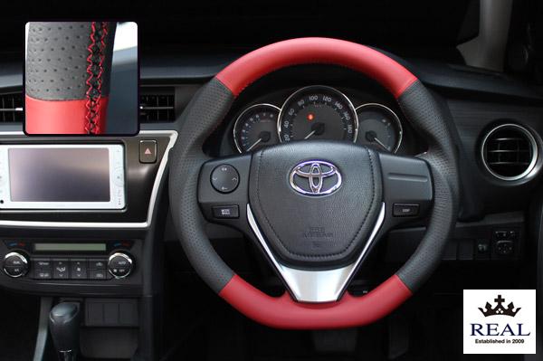 【 アイシス ZGM10G, ZGM10W, ZGM15G, ZGM15W, ZGM11G, ZGM11W (10系)後期用 】 レアル ステアリング オリジナルシリーズ (オールレザー / ブラック&レッド) 品番: E160-LPB-RD (REAL Steering 純正交換タイプ)