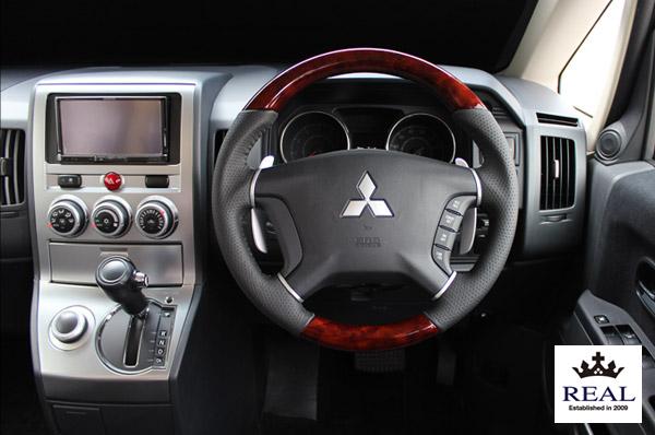 【 パジェロ V83W, V88W, V93W, V98W用 】 レアル ステアリング オリジナルシリーズ (ブラウンウッド) 品番: D5-BRW-BK (REAL Steering 純正交換タイプ)