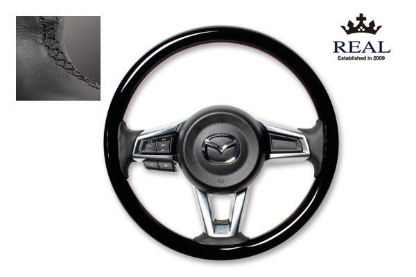 【 ロードスター ND5RC 用 】 レアル ステアリング 天然本木目オリジナルシリーズ (ピアノブラック) 品番: MZCW-PBW-BK (REAL Steering 純正交換タイプ)