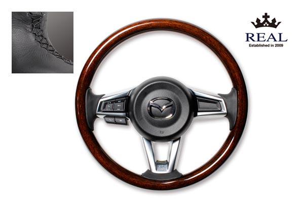 【 ロードスター ND5RC 用 】 レアル ステアリング 天然本木目オリジナルシリーズ (ダークブラウンウッド) 品番: MZCW-BRW-BK (REAL Steering 純正交換タイプ)
