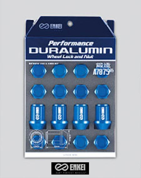 【 M12×1.25 ロック&ナットセット / ブラックアルマイト 】 ENKEI RACING NUTS パフォーマンス ジュラルミン ホイール ロック&ナット 品番: EK3BK-16P 『 エンケイ レーシングナット 』