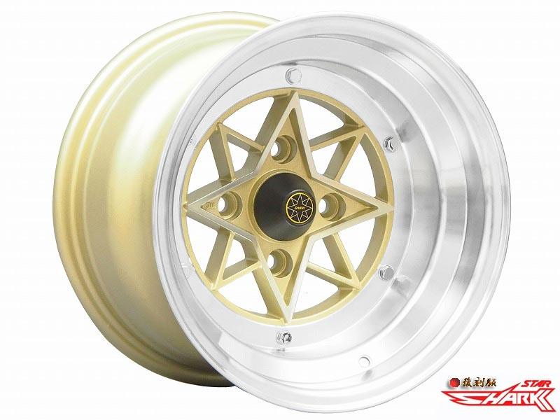 【 復刻 スターシャーク 】 STAR SHARK 14×9.0J 114.3-4H -26 (ゴールド) STAR-26490KG 4本購入で送料無料 (1本~3本は送料かかります) COLIN PROJECT 旧車用ホイール