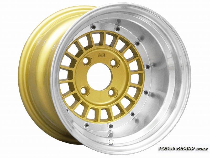 復刻 FOCUS RACING SPOKE 14×10.0J 114.3-4H -38 (ポリッシュ/ゴールド) FOCUS-38410KG (復刻 フォーカスレーシング スポーク) 4本購入で送料無料 (1本~3本は送料かかります) COLIN PROJECT 旧車用ホイール