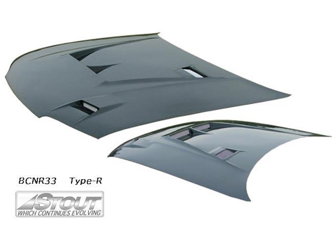 【 スカイライン GT-R BCNR33 用 】 STOUT エアロボンネット Type-R (FRP製) for NISSAN SKYLINE [高瀬スタウト 軽量ボンネット]