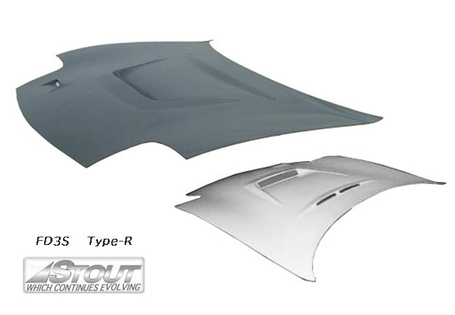 【 RX-7 FD3S / 13B-REW 用 】 STOUT エアロボンネット Type-R (FRP製) for MADZA RX-7 [高瀬スタウト 軽量ボンネット]