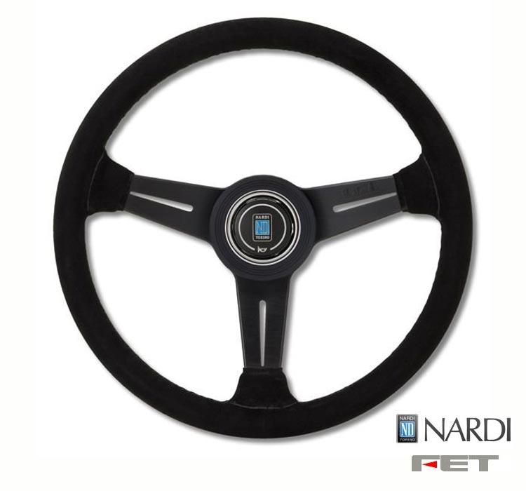 [ FET NARDI CLASSIC LEATHER 36φ ] 360mm スエードレザー ブラックスエード/ブラックスポーク 品番: N135 (FET 正規品 ナルディ クラシック レザー) ※送料無料 (沖縄県および離島は除く)