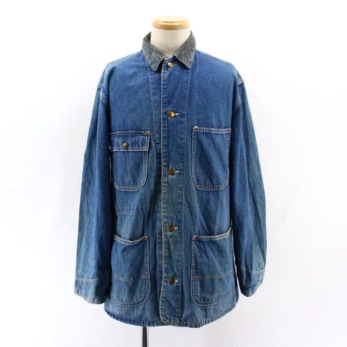 80sSEARSデニムカバーオール 80's1980年代アメリカ古着アメカジ古着メンズ古着ユーズドLサイズワークジャケットデニムジャケットシアーズ プレゼント ギフト 衣装Nmvnw80O