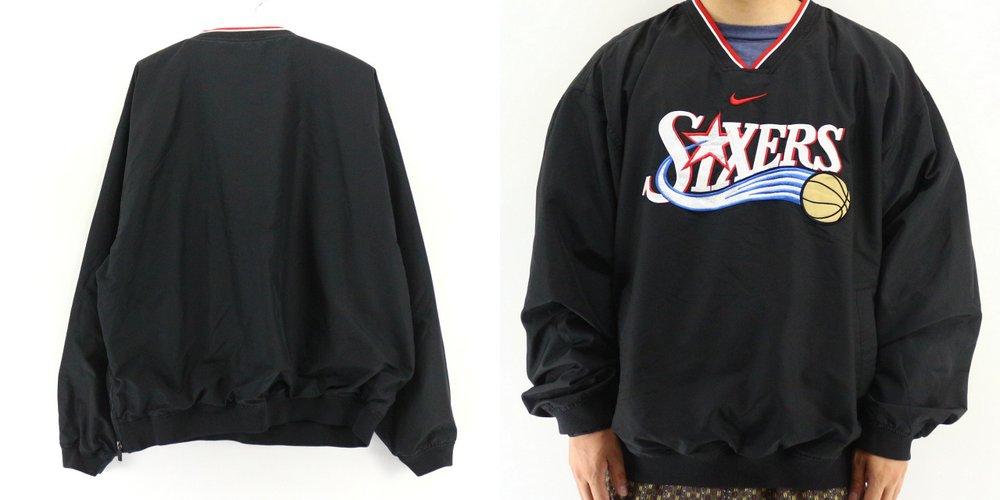 2000sNIKE製NBA76ersプルオーバージャケット アメリカ古着アメカジ古着メンズ古着ユーズドXLサイズLサイズ大きいサF3uKJ5T1lc