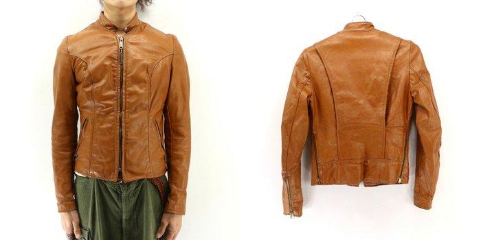70sBROOKSビンテージシングルレザーライダースジャケット 70's1970年代アメリカ古着アメカジ古着メンズ古着ユーズドXR4jLq35A