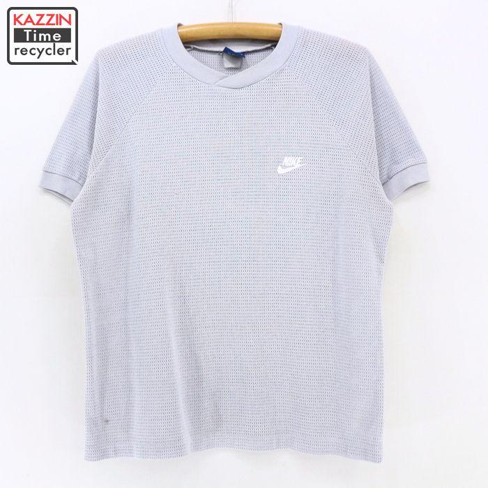 abd69b1005d08 80s NIKE vintage mesh T-shirt ★ 80s medium size gray Nike T-shirt dark blue  tag