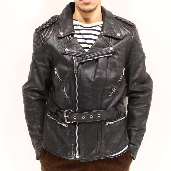 古着 80s ダブル レザーライダースジャケット 80年代USA買い付け古着ユーズドLサイズ 黒 ブラック レザージャケット 革ジャン バイカー パキジャン プレゼント ギフト 衣装TPuOZkXi