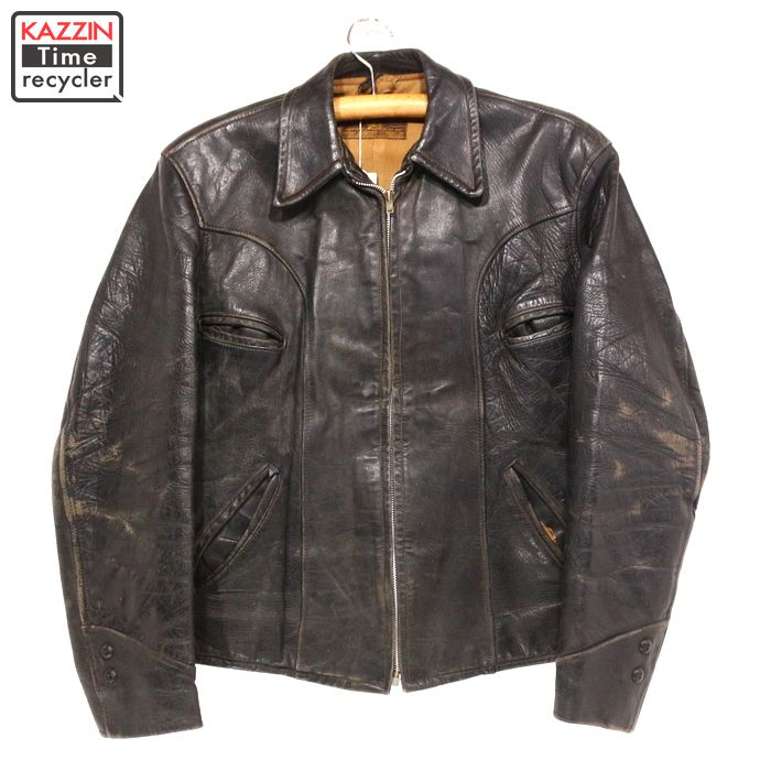 40s 古着 ゴールデンフリース ビンテージ レザージャケット 40年代USA買い付け古着ユーズドLサイズヴィンテージ黒 ホースハイド 馬革 革ジャン プレゼント ギフト 衣装kXuZiOP