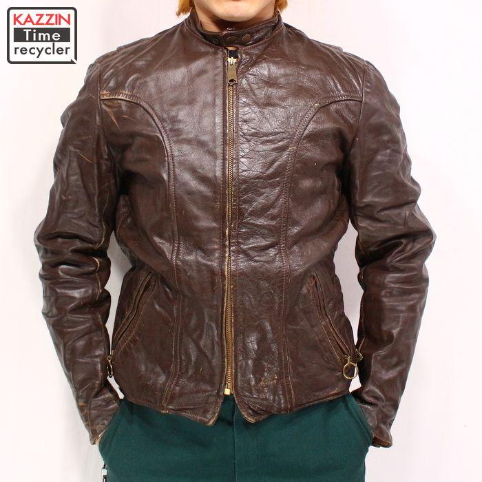古着 70s 古着 BROOKS ブルックス シングル レザー ライダース ジャケット ★ Mサイズ 38 プレゼント ギフト 衣装
