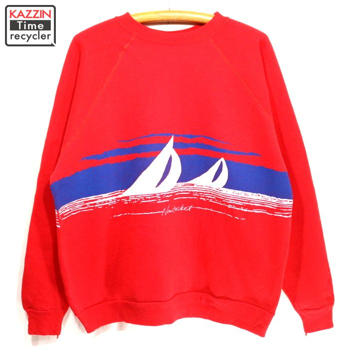 Red trainer present gift for old clothes 80s in crazy shirt raglan sleeves  sweat shirt ★ 80s made in the XL size big size big size United States