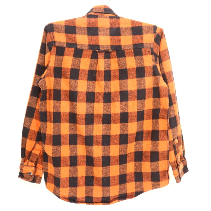 Old clothes 90s Harley-Davidson checked pattern flannel shirt ★ 90s small  size orange HARLEY-DAVIDSON Christmas present gift