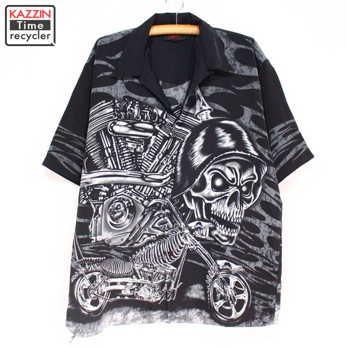 The size big size black black HIPHOP hip-hop rapper Christmas present gift  which scull pattern short sleeves Chicanos shirt ★ 90s XL size large size  ...