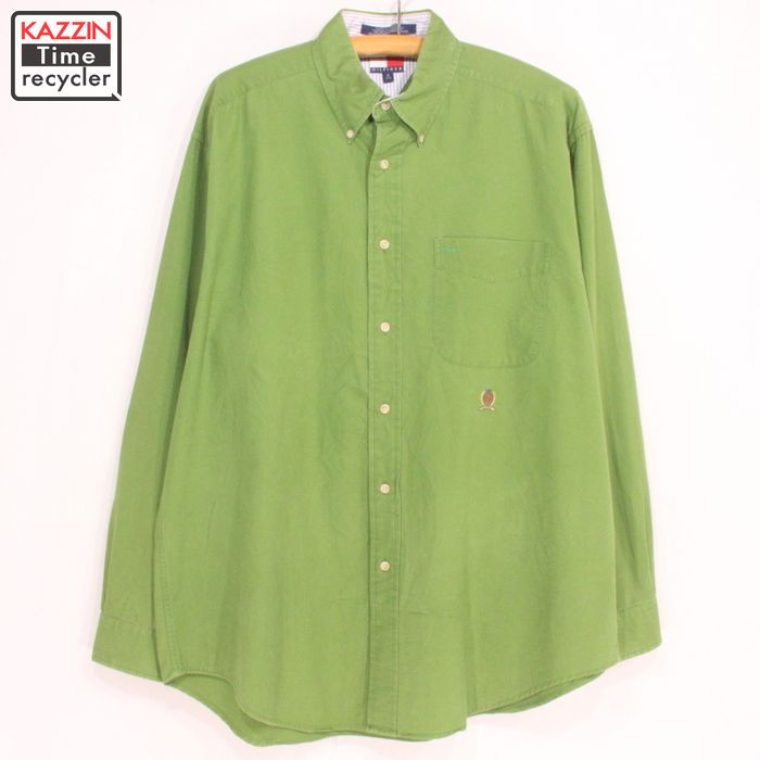 298abc18 The size big size long sleeves shirt Tommy TOMMY Christmas present gift  which トミーヒルフィガーボタンダウンシャツ ☆ 90s XL size large size has a big for ...