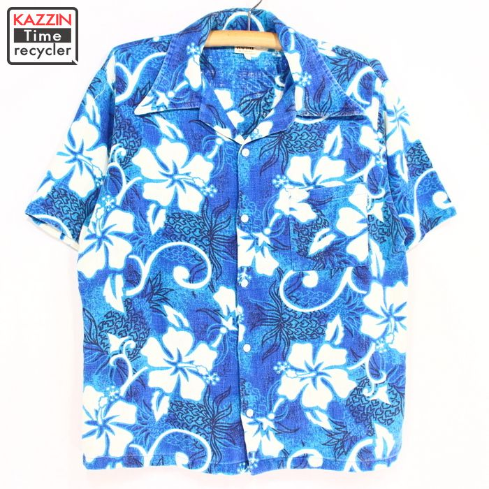 Christmas Hawaiian Shirts.Old Clothes 70s Montgomery Word Hawaiian Shirt 70s Medium Size Short Sleeved Shirt Hawaii Ann Shirt Whole Pattern Shirt Blue Christmas Present Gift