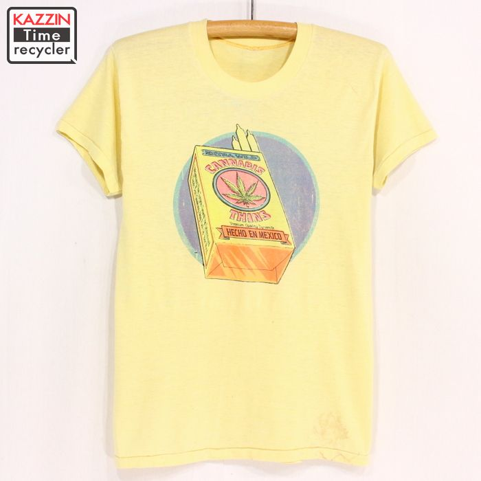 de4dd47d612b3 Yellow psychedelic hippie ganjah Christmas present gift for old clothes 70s  in marijuana vintage T-shirt ★ 70s made in the small size United States