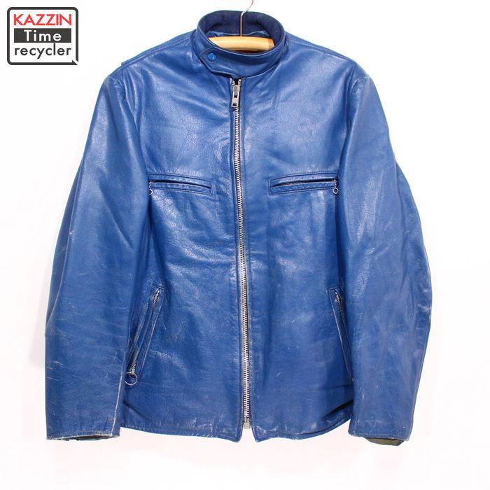 古着 80s BRITISH シングルライダースジャケット★Lサイズ ブルー プレゼント ギフト 衣装:Vintage古着屋 KAZZINTimerecycler