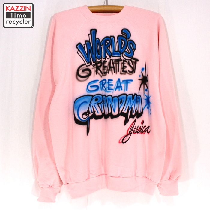 89982a21e 90s old clothes airbrush graphic sweat shirt ☆ XL size pink
