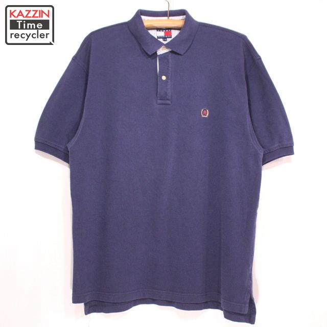 1e259726 Old clothes 90s TOMMY HILFIGER short sleeves polo shirt ☆ large size navy  Christmas present gift ...