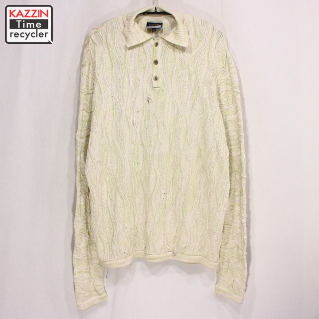 古着 90s COOGI 3Dニットセーター ポロシャツ★XLサイズ クリスマス プレゼント ギフト