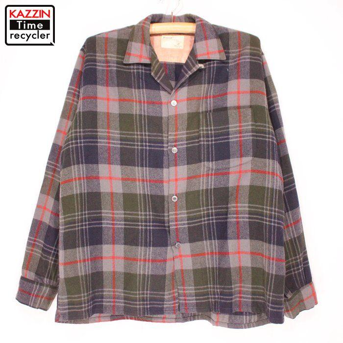 60s 古着 TRUVAL VINTAGE ウールチェックシャツ★Lサイズ プレゼント ギフト 衣装