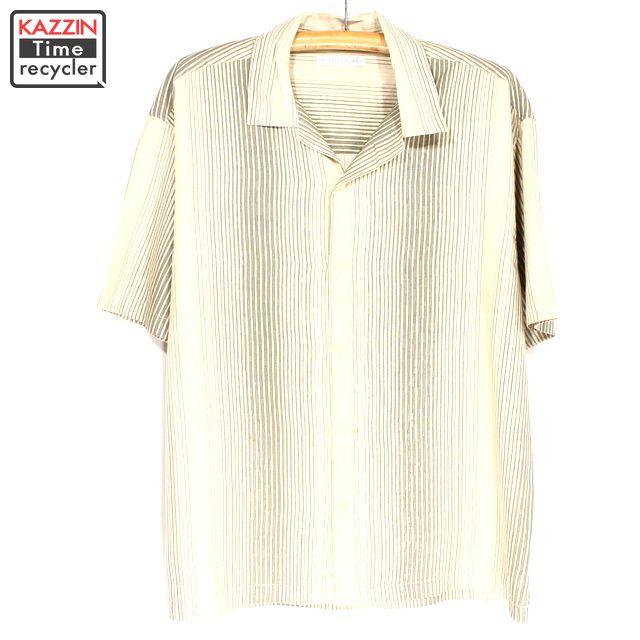 大きいサイズ ビッグサイズ 総柄 ストライプ ユーズド 中古 古着 半袖 シルクシャツ 年末年始大決算 ギフト ベージュ XLサイズ プレゼント 衣装 現金特価