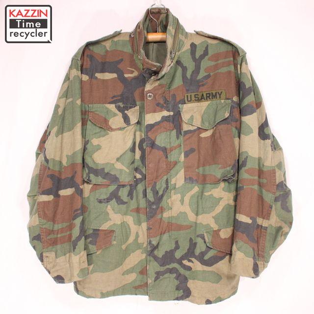 古着 80s U.S.ARMY ウッドランドカモ M-65 フィールドジャケット★L プレゼント ギフト 衣装