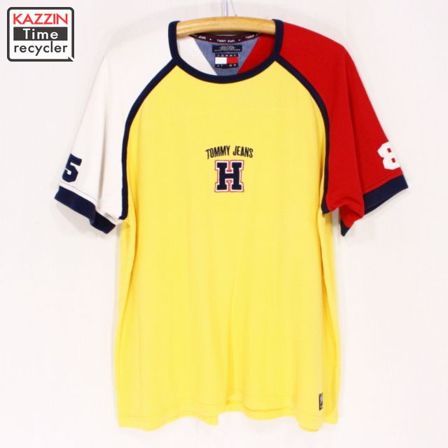 c54178ef Old clothes 90s TOMMY HILFIGER short sleeves T-shirt ☆ large size yellow